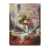 NY Art - Thick Modern Violin & Floral 36x48 Original Oil Painting on Canvas!