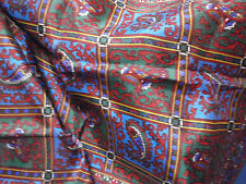 Ladies Scarf Hand Rolled Turquoise Red Paisley 100% Acetate 15x44 Lot Hrtp Japan