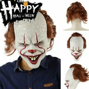 Latex Horror LED Maske Halloween Pennywise Cosplay Clown Kostüme Neu
