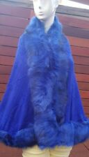 Deep Blue Floral Embossed Poncho Shrug Cape with Soft Faux Fur Collar & Edges