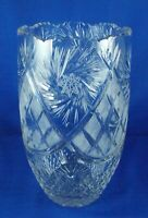 Lead Crystal Flower Vase Pretty Sound No Hallmark Lovely Heavy Piece
