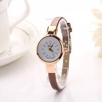 Hot Women's Fashion Round Case Leather Band Quartz Analog Bracelet Wrist watch