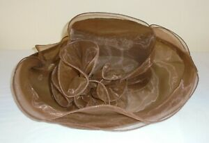 Foldable Bendy Travel Brown Mother of Bride Occasion Formal Races Wedding Hat