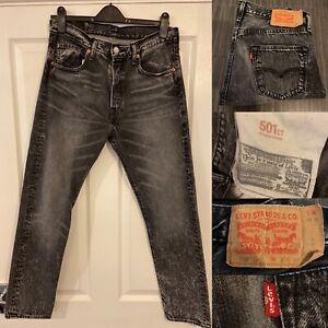 Vintage LEVI'S 501 Black Grey Denim Regular Straight Jeans Mens W30 L30 VGC 🔥