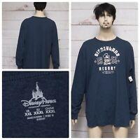 Disneyland Resort 1955 Mens Sz XXL Blue Distress Print Applique L/S T-shirt NWT