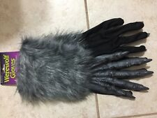 """ADULT WEREWOLF MONSTER 16"""" GREY HANDS GLOVES WITH FUR COSTUME FW8274GY"""