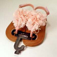 New Bebe Girls Petal Pink Flowered Sandles size 7 Youth Leather Shoes Pretty