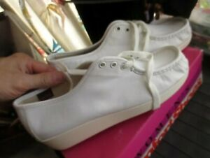 NIB NOS Red Wing White Leather Moc Toe Lace Up Wedge Oxfords Shoes Women's 10M