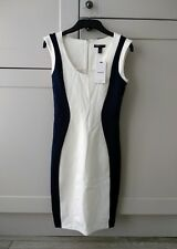 NEW w/Tags MANGO SUIT White / Navy Bodycon Dress WORK SMART FORMAL XS 8 RRP £45
