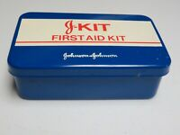 Vintage Johnson & Johnson First Aid J Kit Travel Kit Metal Box Only USA