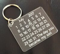 Personalised Day You Became My Son Daughter Niece Calender Keyring Keepsake Gift
