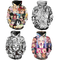 Mens Adult Ahegao Emoji Face Anime 3D Print Hoodie Pullover Hooded Jacket Jumper