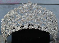 Sparkling Silver Wedding Crown, Stunning Crystal Bridal Tiara Sweet 16 XV Quince