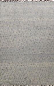 8'x10' Modern Geometric Moroccan Oriental Area Rug Hand-knotted Plush Wool Gray