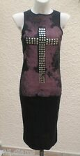 Robe Sans Manches  Noire Et Mauve Croix Cloutée Taille 38