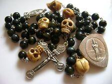 RARE Blue Tiger Eye Jade beads & Old Bone Skull ROSARY CROSS CATHOLIC NECKLACE