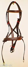 New  ** Cross Over ** Bitless Leather  Bridle with web grip reins - Full (Brown)