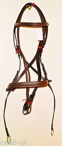 New  ** Cross Over ** Bitless Leather  Bridle with web grip reins - Cob (Brown)