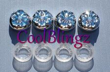 Blue Flower Rhinestone Screw Caps for Crystal Bling Sparkle License Plate Frame