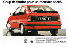 PUBLICITE ADVERTISING  1985   OPEL  KADETT GSI   un montre sacré  (2 pages)