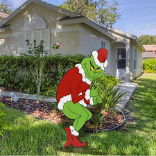 GRINCH Stealing CHRISTMAS Lights Yard Art Decor Creeping Right Facing Grinch