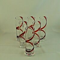 "SWIRLINE RED by Pier 1 One Stemless 5 1/2"" LIQUOR Cocktail Glasses Set of 6"