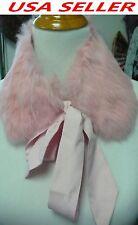 New Real Genuine Rabbit Fur Collar Scarf Shawl Wrap Neck Warmer Ribbon-Pink