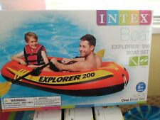 NEW Intex Explorer 200 Inflatable Boat Raft Set with 2 Oars & Pump for 2 Person