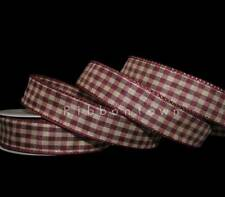 """2 Yds Christmas FLAW Burgundy Green Center Woven Stitched Wired Ribbon 1 1//2/""""W"""