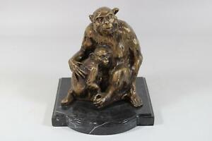 2 Affen Affenmutter mit Jungem Bronze Skulptur auf Marmorsockel (HP069)