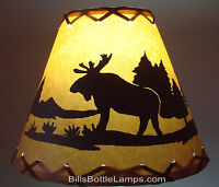 "MOOSE Cabin Cottage Table Light LAMP SHADE Clip-On Bulb Style 9"" inch Laced Cone"