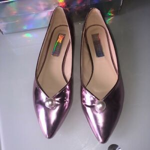 Quirky ASOS Daisy Street Brand Pointed Pink Metallic Pearl Pumps/flats UK 5