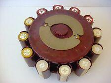Vintage Inlaid Clay Poker Chip Set