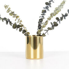 Gold Flower Vase Pen Holder Desktop Storage Container Ornament Cylinder