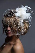 Avorio piuma di struzzo Birdcage Netto Velo Diamante Nuziali Matrimonio Fascinator Con Cappello