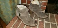 UGG TAN LEATHER WOOL LINED ANKLE BOOTS HEELS WOMENS SIZE 9