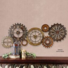 "54"" ANTIQUED METAL WALL CLOCK COLLAGE THREE CLOCKS IN ONE GEAR STYLE VINTAGE"
