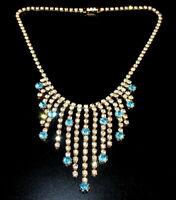 Exklusives Strass Collier - Crystal/Türkis - 1A-Qualität aus Böhmen - #818