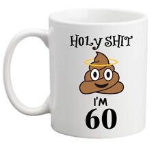 Funny 60th Birthday Poo Emoji Mug Holyshit Rude Gift For Him