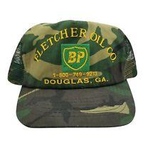BP Oil Men's Snapback Trucker Hat Mesh Camouflage Yellow Green Distressed