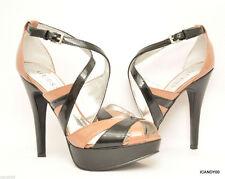 New Guess JACLYN Strappy Platform Pump Sandal Patent Heel Brown/Black 8.5