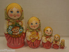 Russian Matryoshka - Wooden Nesting Dolls - 5 Pieces Unique Coloring - Set #11