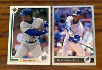 Ken Griffey JR 1991 UD #555 and 1992 Leaf #392 - Mariners
