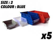 5 X Taille 2 Bleu Stockage Petites Pièces Poubelles Boîtes Garage Atelier