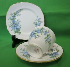 Royal Osborne China Blue Forget Me Not Tea Set Trio #7527 - VGC