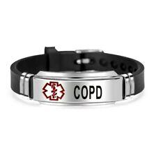 COPD Medical Alert Bracelet Stainless Steel Adjustable Survival Badge Engraved