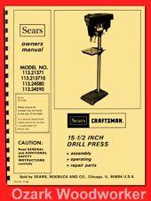 "CRAFTSMAN 113.21371 & 113.213710 Drill Press 15-1/2"" Operator & Part Manual 0175"