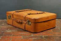 "Beautiful Gentleman"" Tan Leather Belted Travel Suitcase Simpson Piccadilly"
