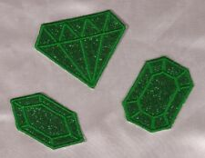 Embroidered Glitter 3-Pc Set Emerald Green Diamond Gem Applique Patch Iron On