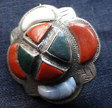 antique Victorian SILVER AGATE Scottish flower brooch hinged c pin -C36